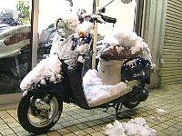 オートバイに雪